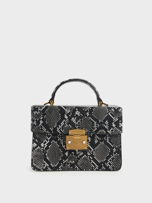 Snake Print Top Handle Bag, Grey, hi-res