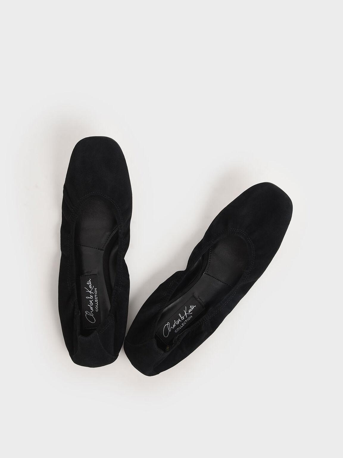 Ruched Ballerina Flats (Kid Suede), Black, hi-res