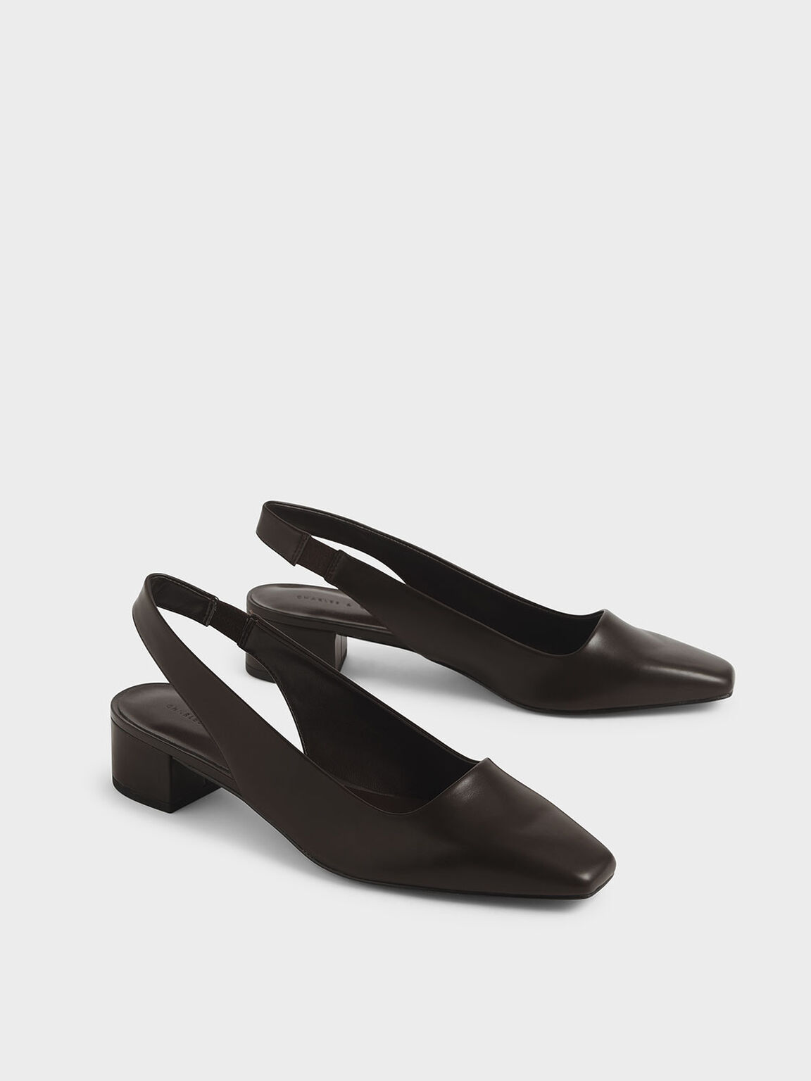 Square Toe Block Heel Slingback Pumps, Dark Brown, hi-res