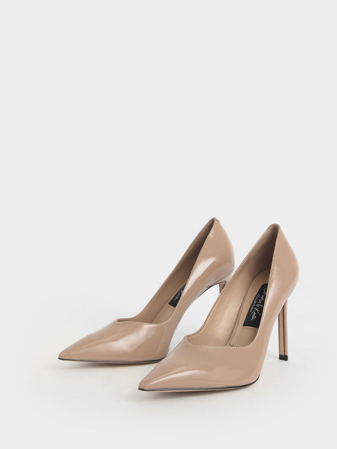 Patent Leather Pointed Toe Pumps, Nude, hi-res