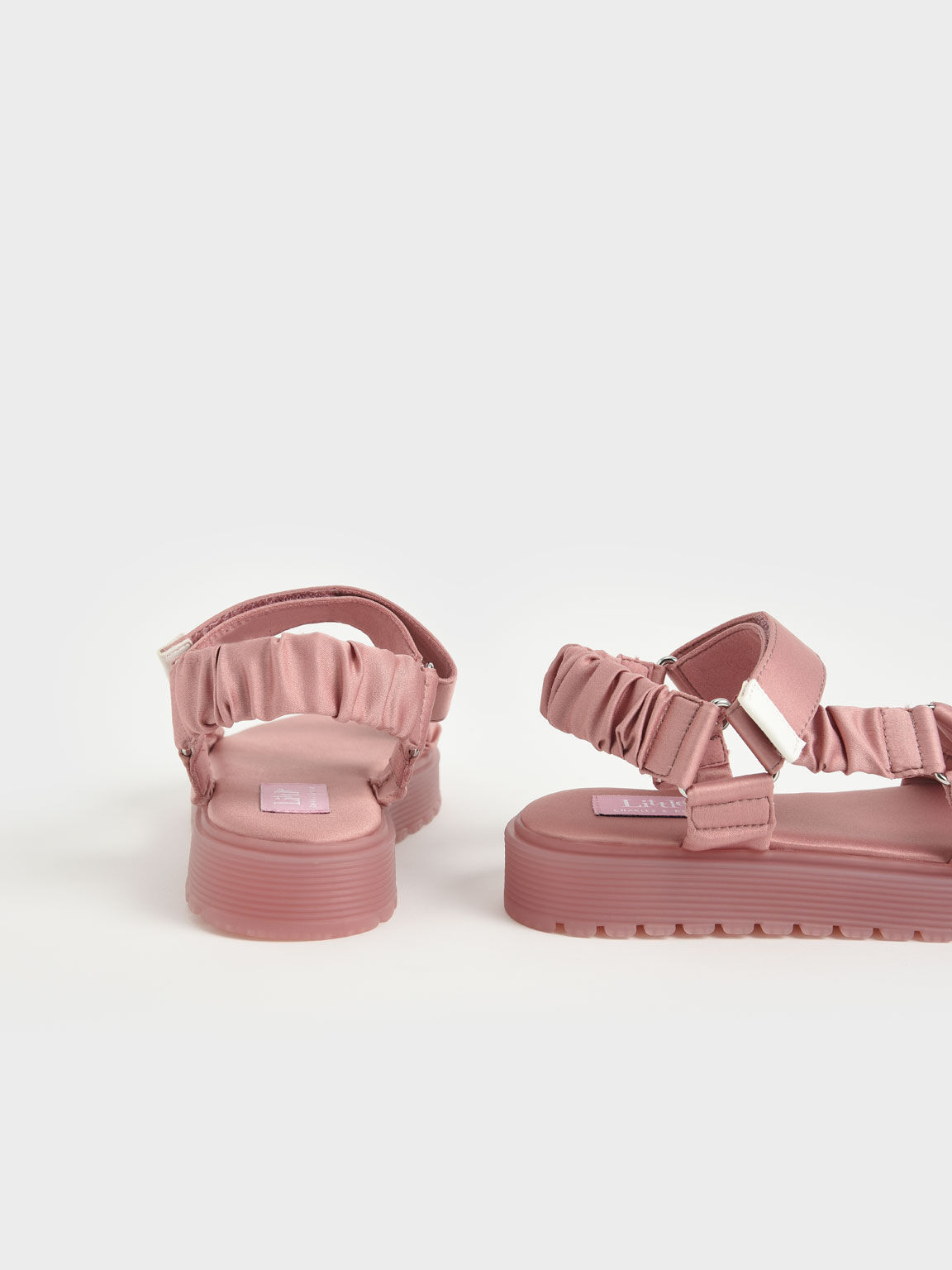 Girls' Fabric Ruched Sports Sandals, Pink, hi-res