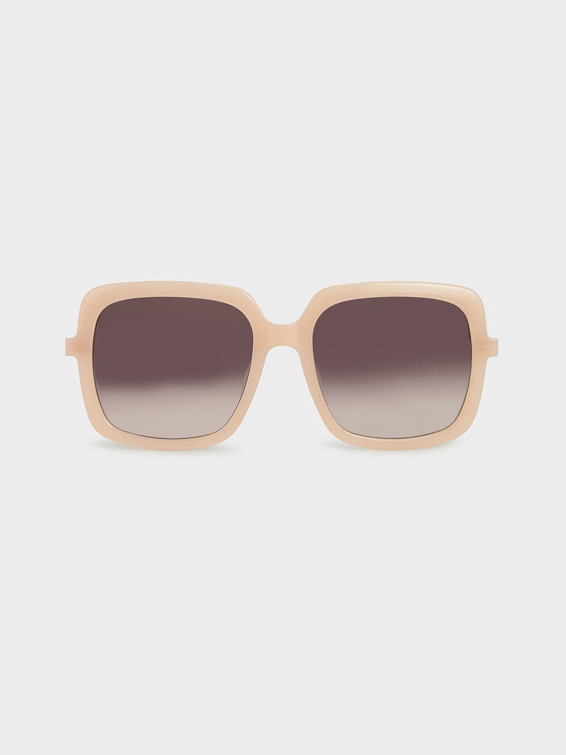 Square Acetate Sunglasses, Pink, hi-res