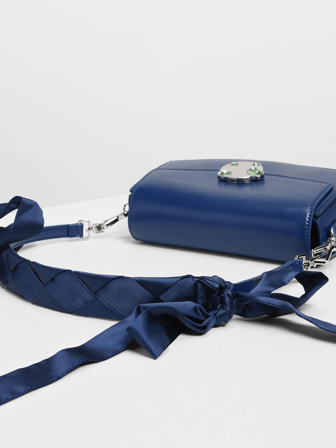 Embellished Push Lock Bag, Dark Blue, hi-res
