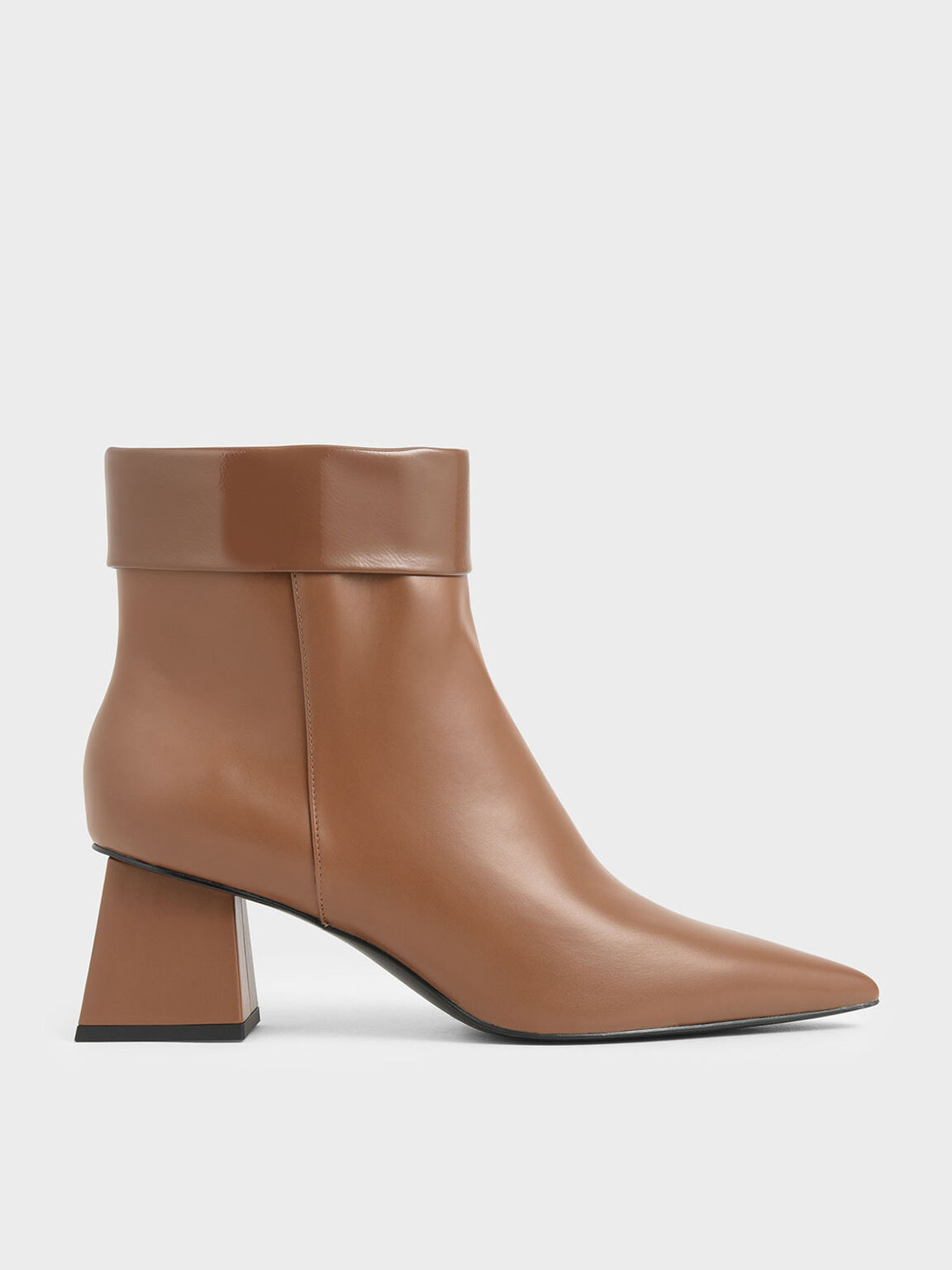 Wrinkled Patent Ankle Boots, Brown, hi-res