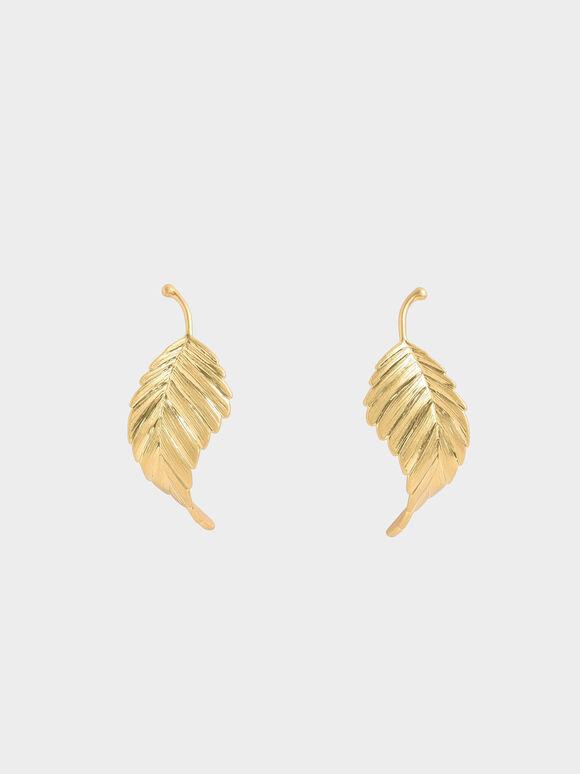 Leaf Stud Earrings, Brush Gold, hi-res