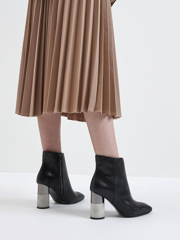 Concrete Heel Ankle Boots, Black, hi-res