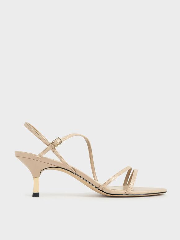 Strappy Metallic Heel Sandals, Nude, hi-res