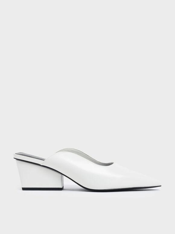 Pointed Toe Wedge Heel Mules, White, hi-res