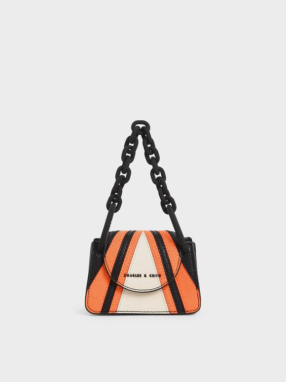 Striped Chunky Chain Handle Mini Bag, Multi, hi-res
