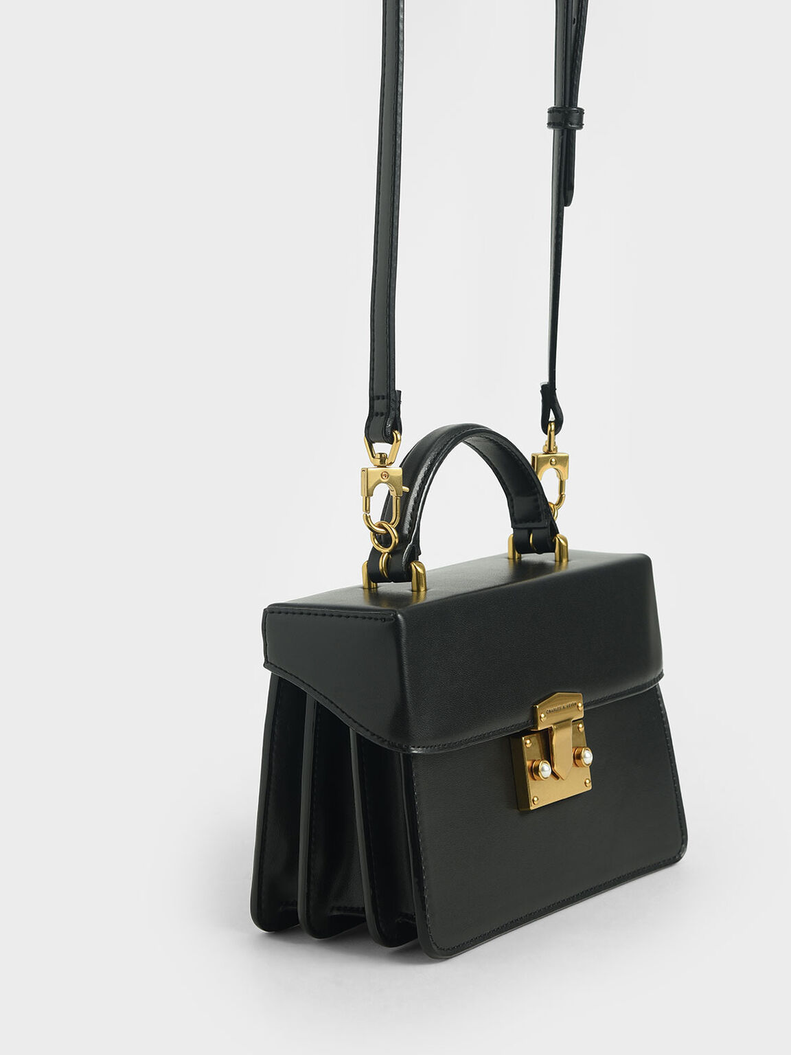 Metallic Push-Lock Handbag, Black, hi-res