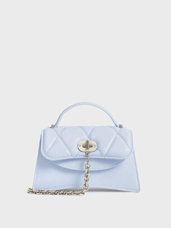 Quilted Front Flap Chain Link Bag, Light Blue, hi-res