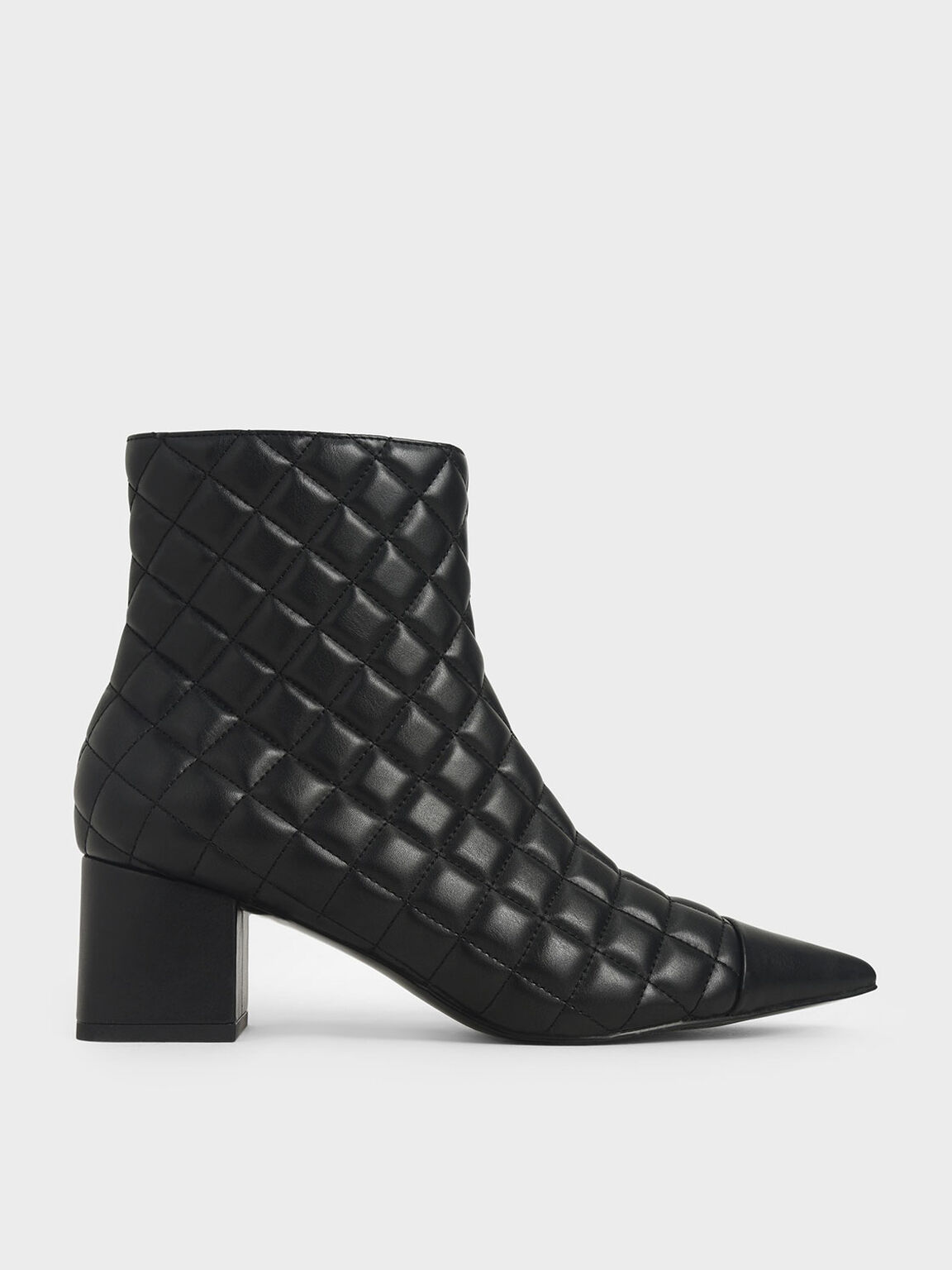 Quilted Ankle Boots, Black, hi-res