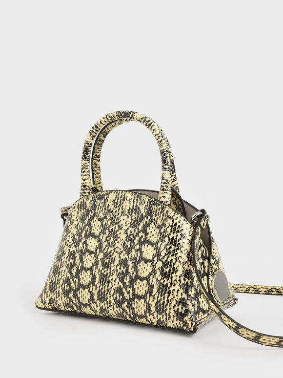 Snake Print Top Handle Dome Bag, Yellow, hi-res