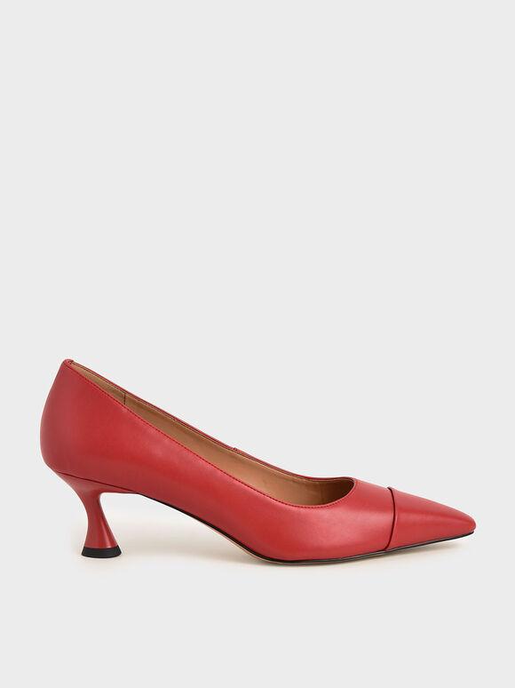 Spool Heel Toe Cap Court Shoes, Red, hi-res