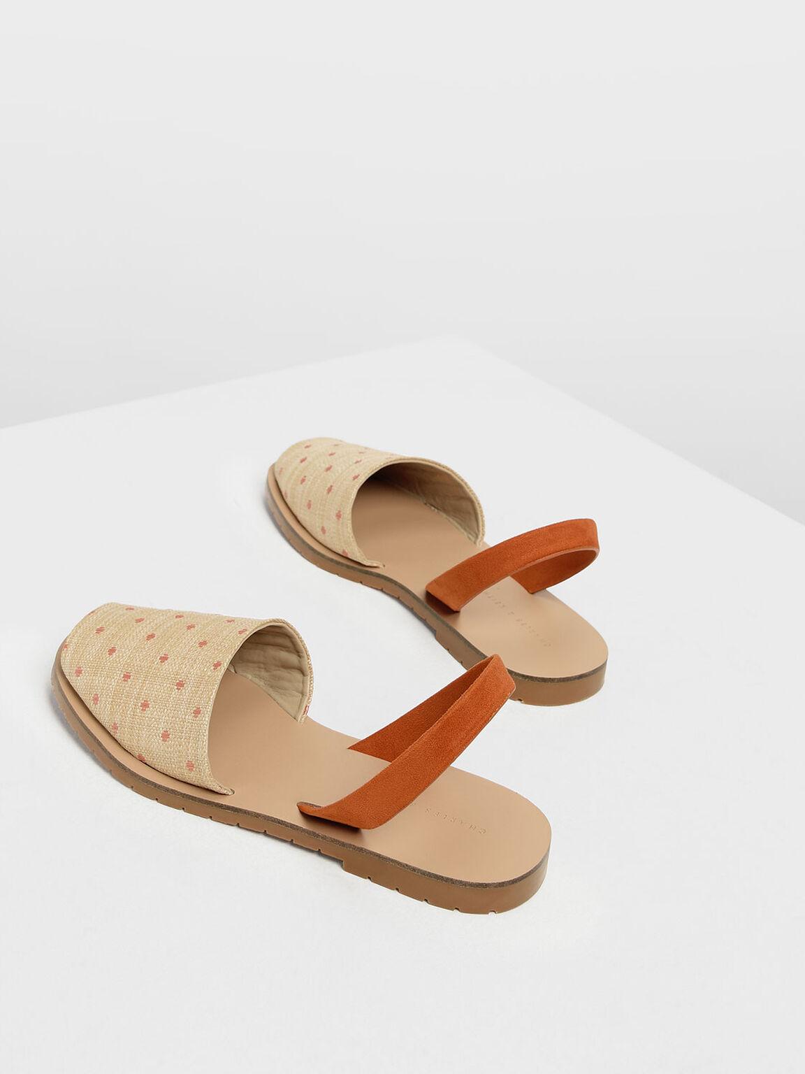 Raffia Peep Toe Slingback Flats, Orange, hi-res