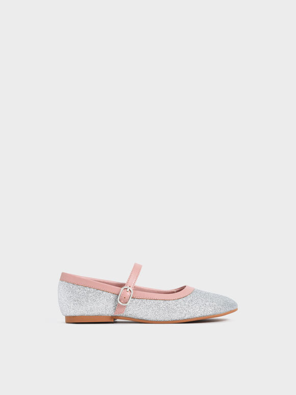 Girls' Two-Tone Glitter Mary Janes, Silver, hi-res