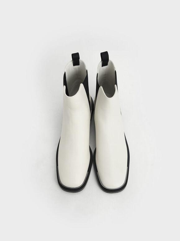Metal Accent Chelsea Boots, Chalk, hi-res
