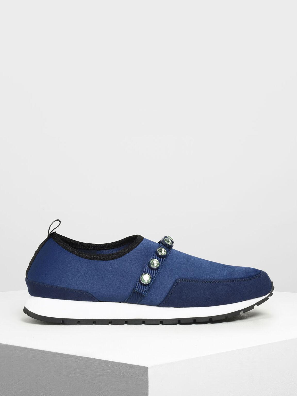 Embellished Slip-On Sneakers, Dark Blue, hi-res