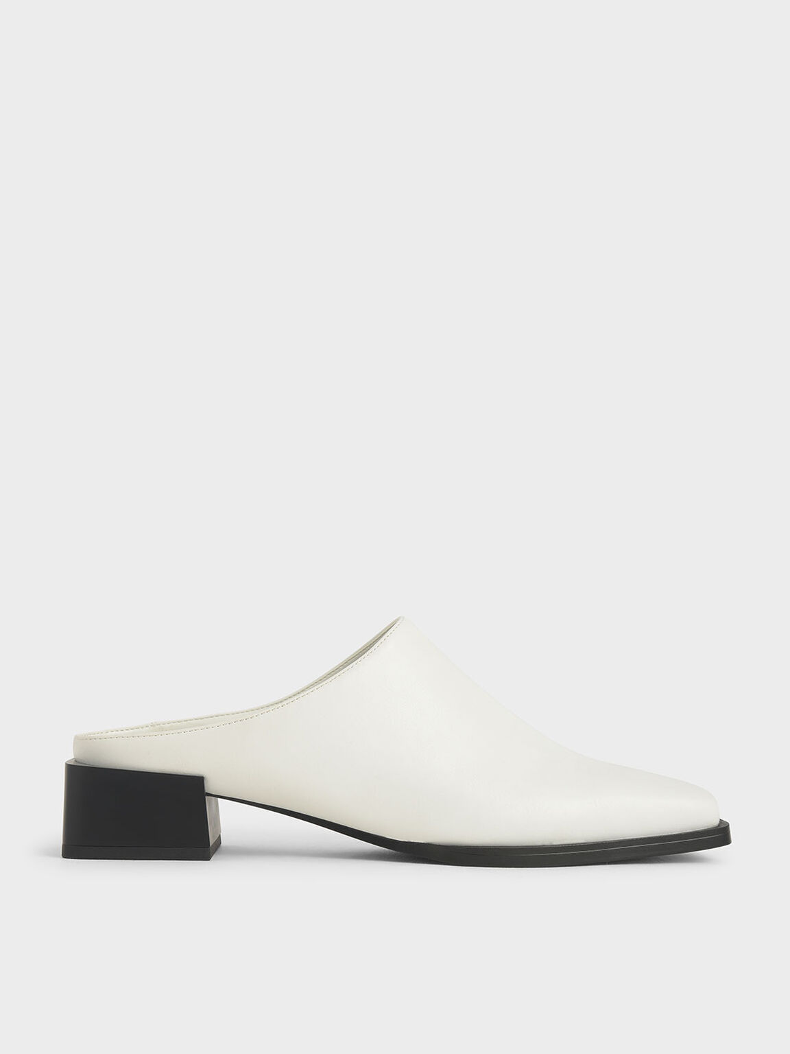 Square Toe Mules, White, hi-res