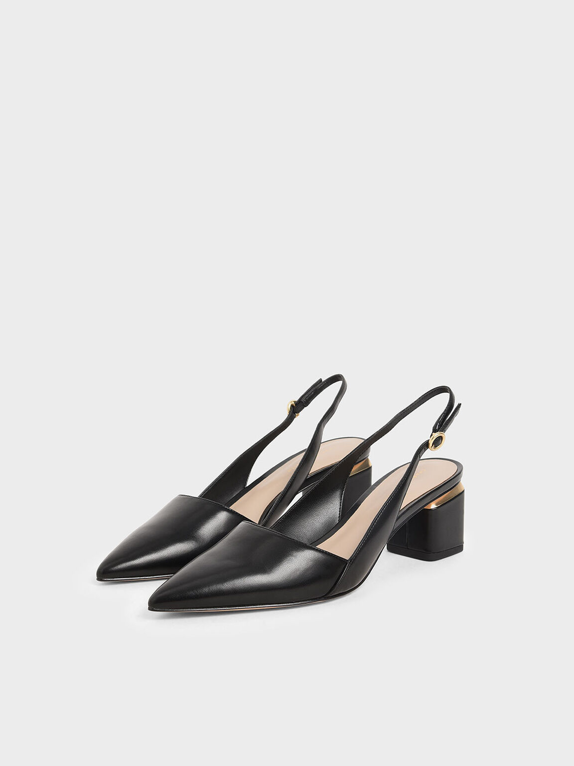 Pointed Slingback Heels, Black, hi-res