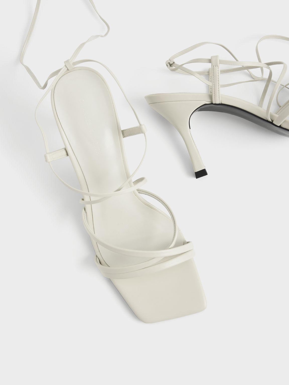 Tie-Around Strappy Sandals, Chalk, hi-res