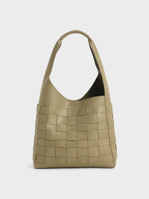 Woven Shoulder Bag, Sage Green, hi-res