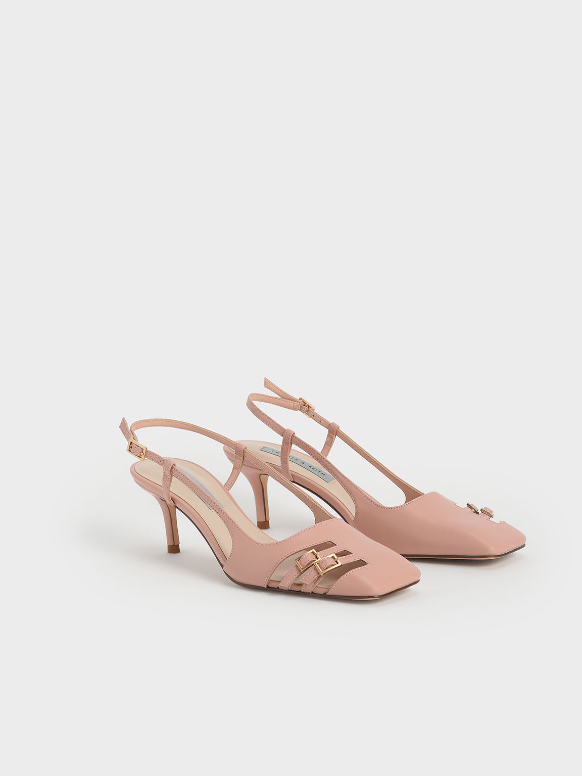 Cut-Out Buckled Slingback Court Shoes, Nude, hi-res