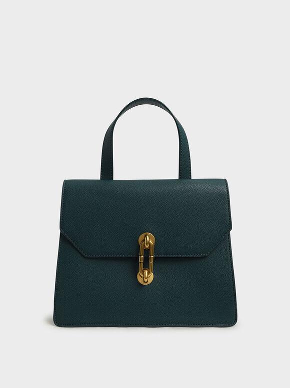 Metallic Accent Tote Bag, Green, hi-res