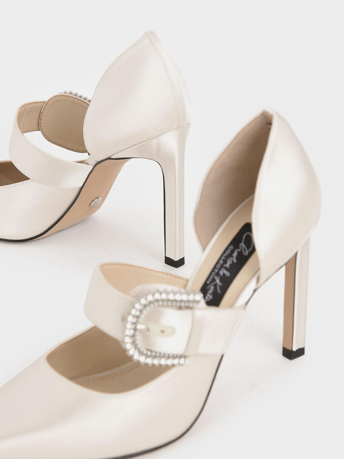 Wedding Collection: Satin Embellished-Buckle Pumps, White, hi-res