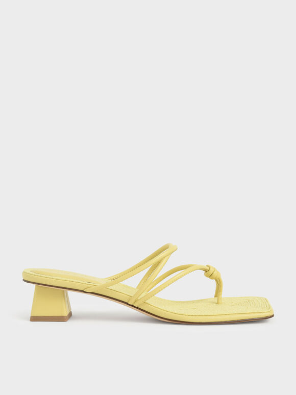 Toe Loop Strappy Heeled Sandals, Yellow, hi-res