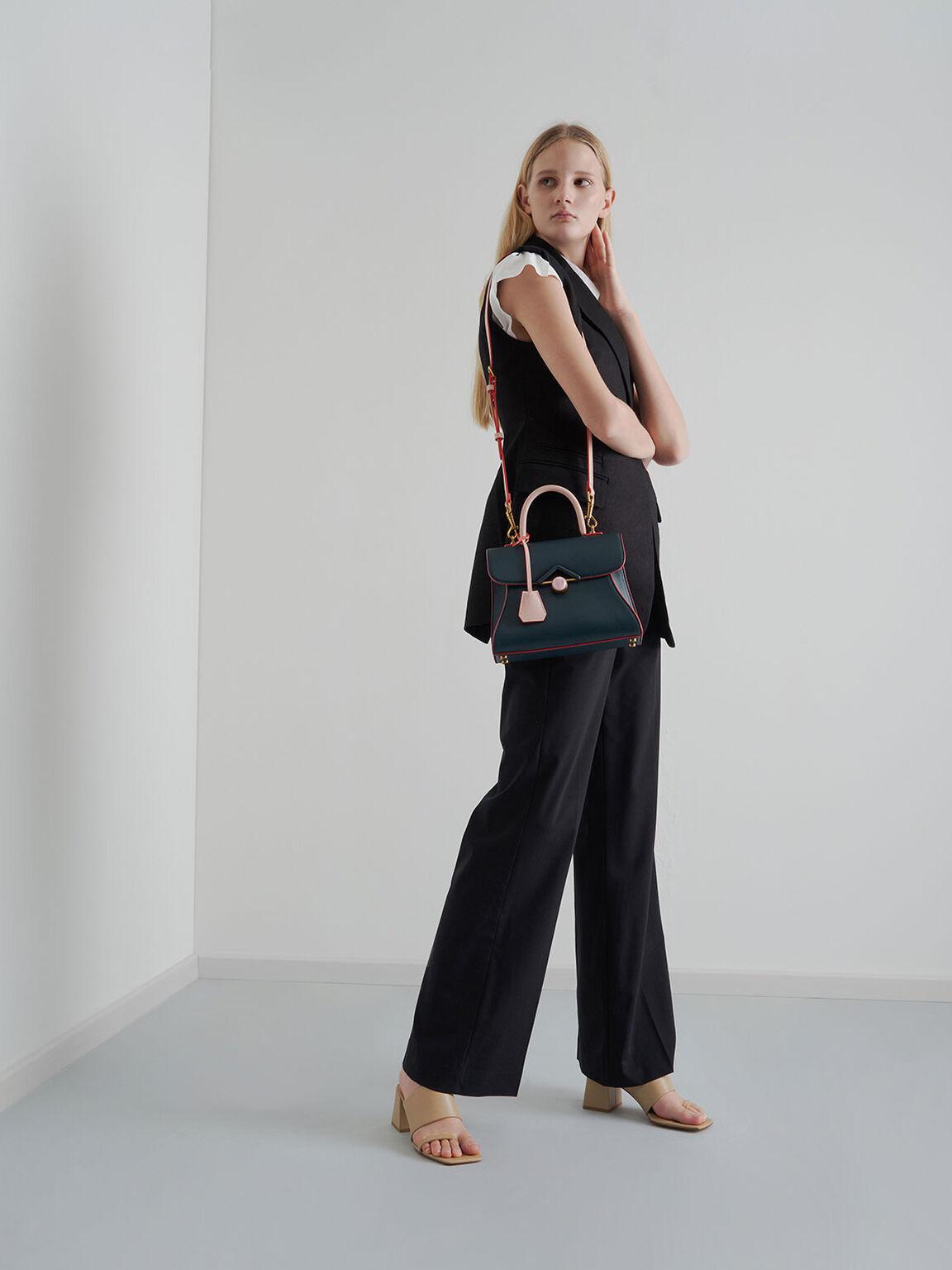 Stone Embellished Handbag, Teal, hi-res