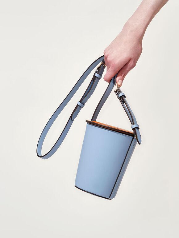 Cylindrical Bucket Bag, Denim Blue, hi-res