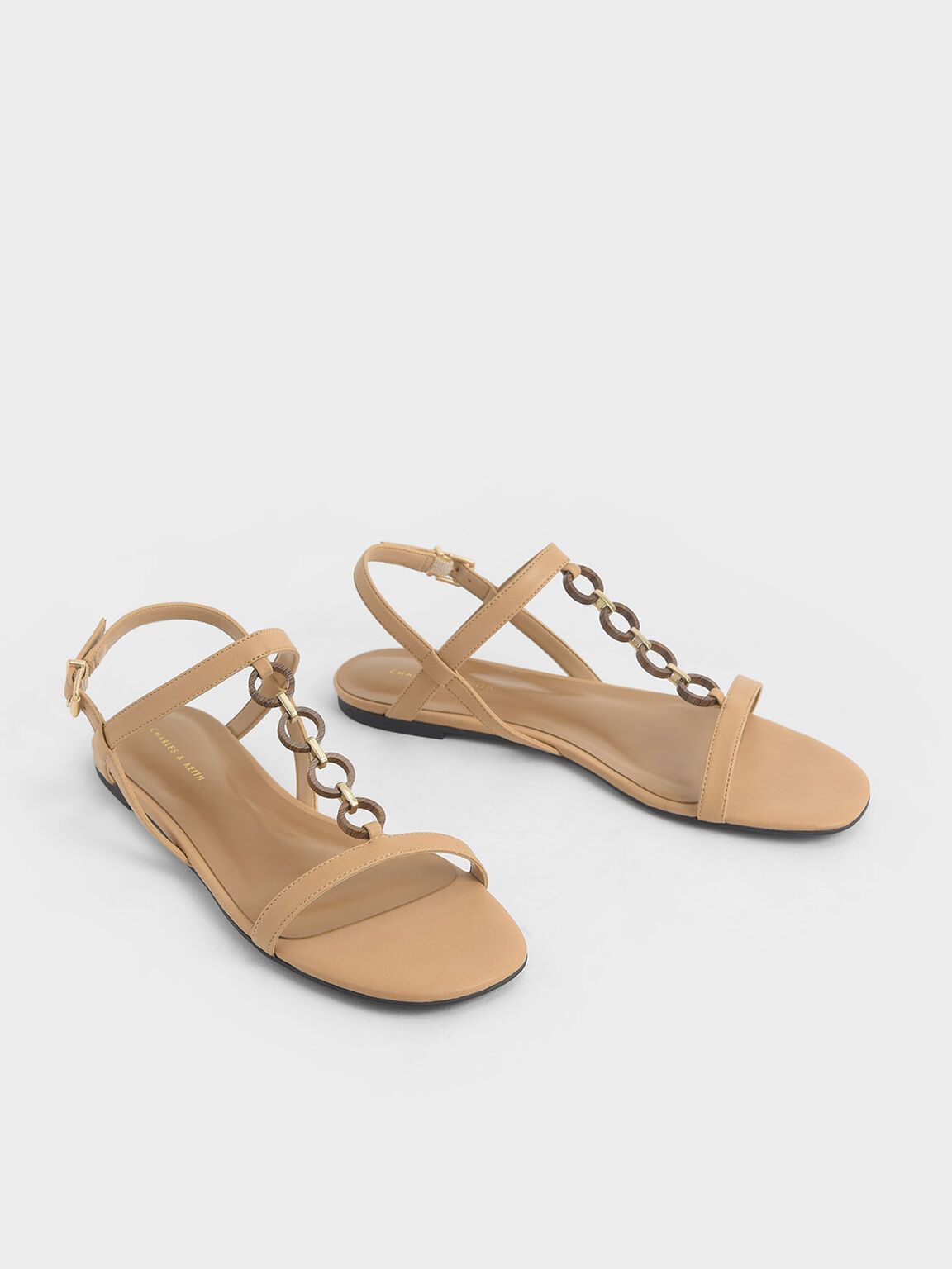 Wood-Effect Chain Link Sandals, Nude, hi-res