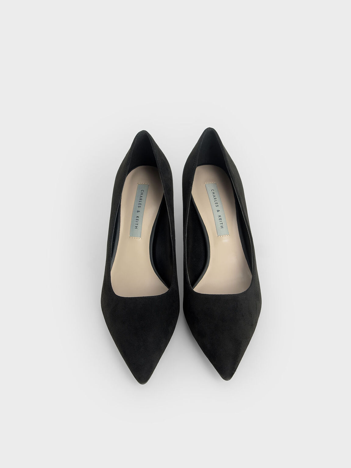 Cylindrical Heel Pointed Toe Pumps, Black, hi-res