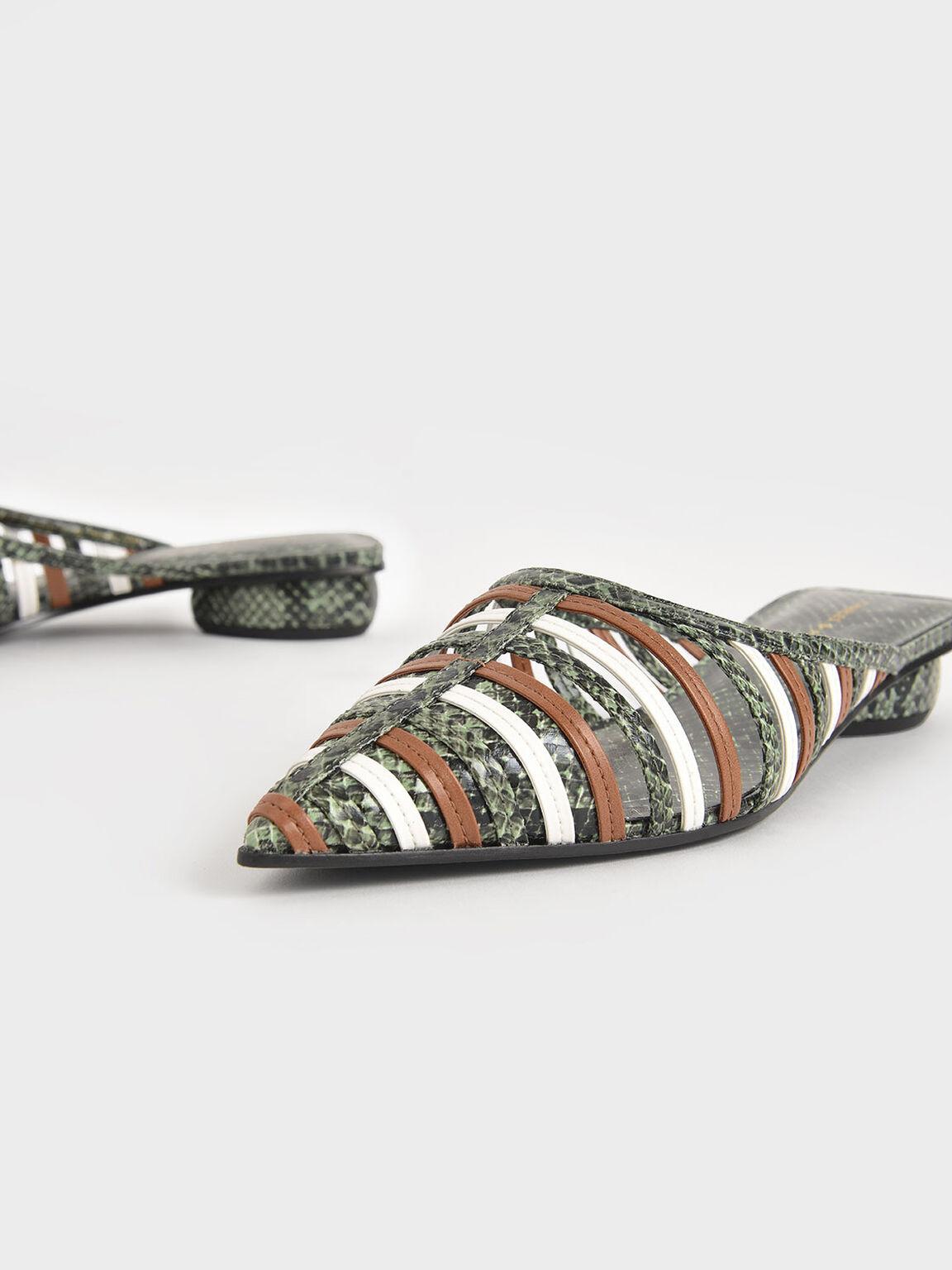 Snake Print Caged Mules, Green, hi-res