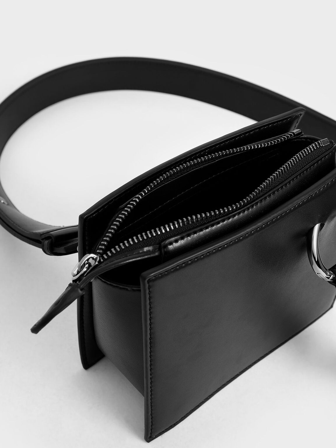 Square Crossbody Bag, Black, hi-res