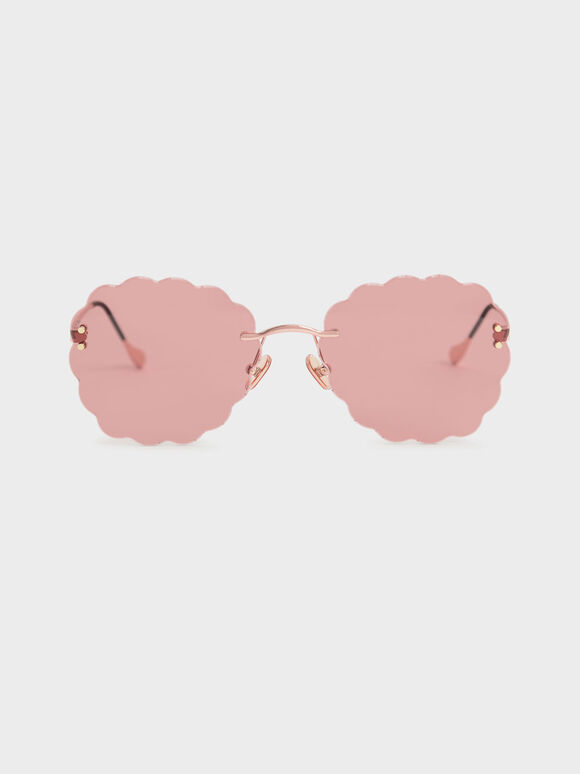 Scalloped Butterfly Sunglasses, Rose Gold, hi-res