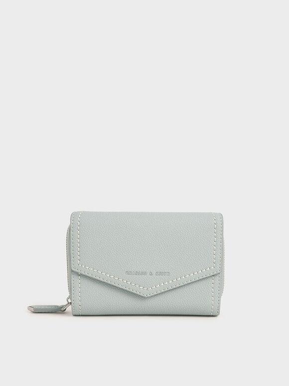 Envelope Short Wallet, Light Blue, hi-res