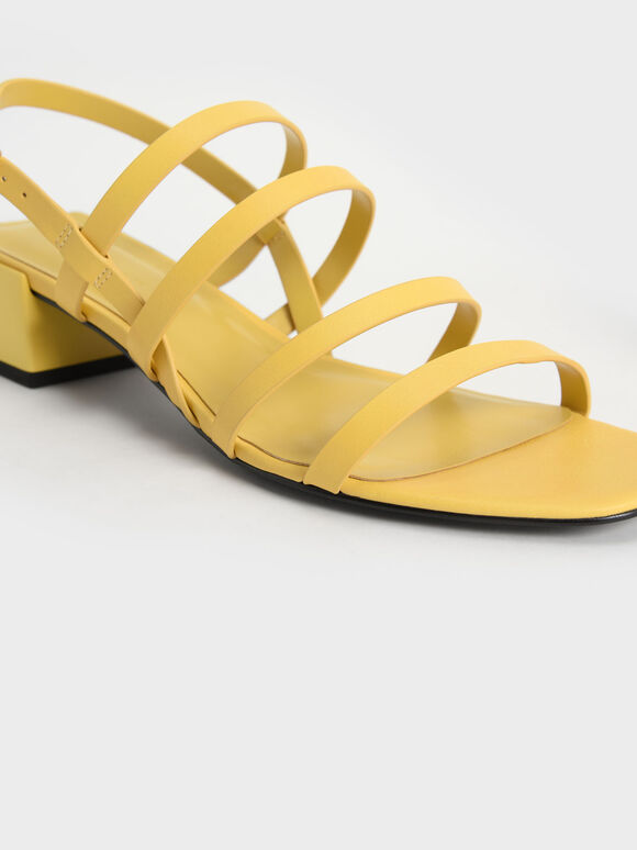 Strappy Geometric Slingback Sandals, Yellow, hi-res