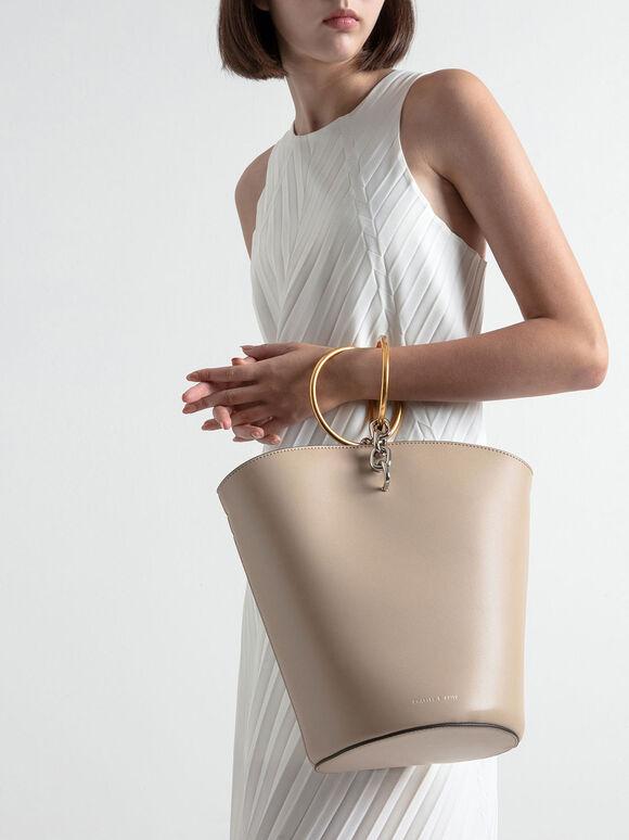Croc-Effect Large Bracelet Bucket Bag, Beige, hi-res