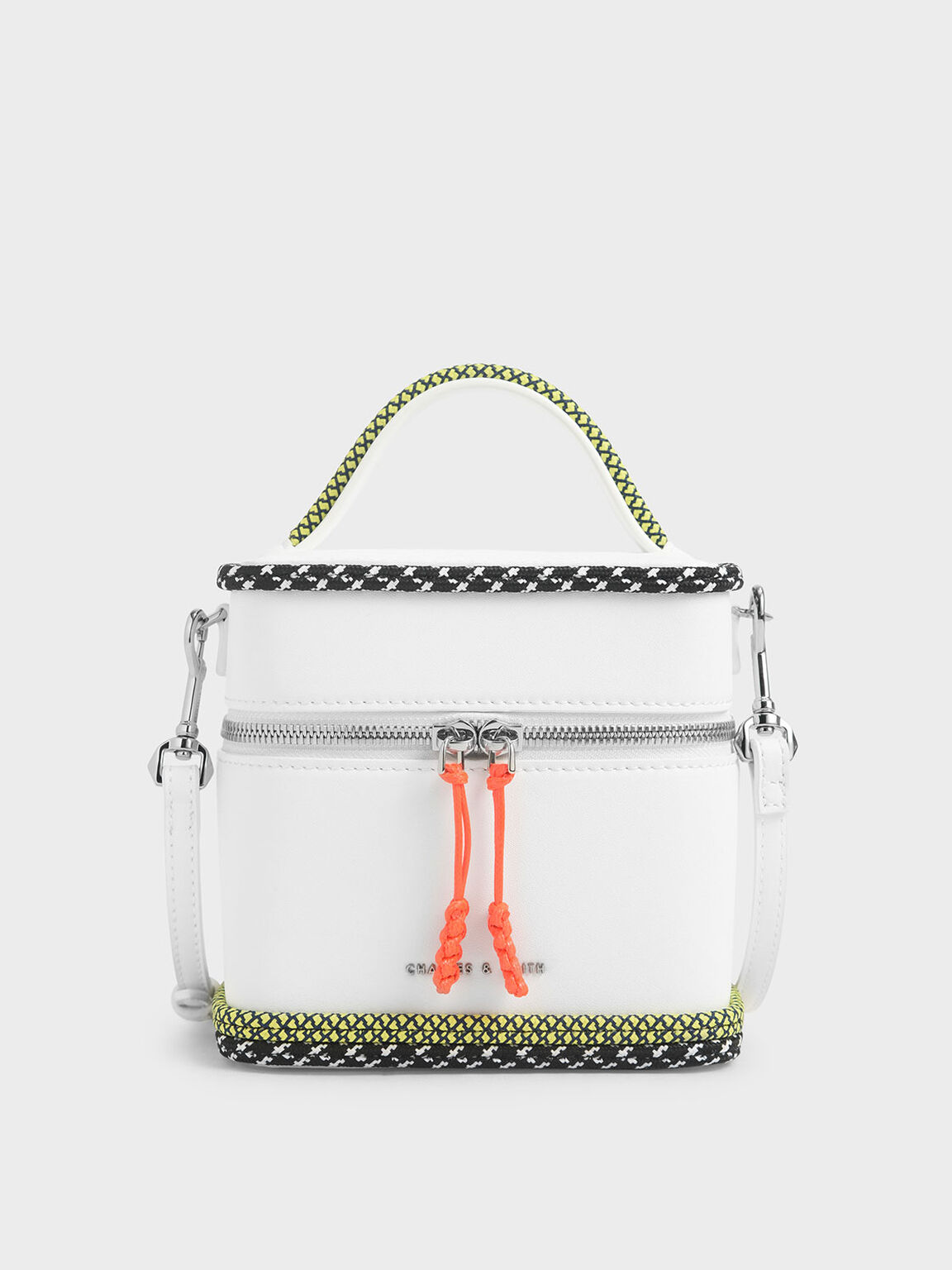 Rope Trim Zip-Around Cylindrical Bag, White, hi-res