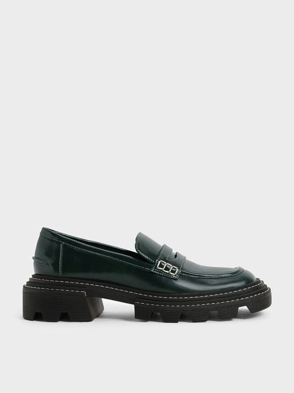 Perline Chunky Penny Loafers, Dark Green, hi-res
