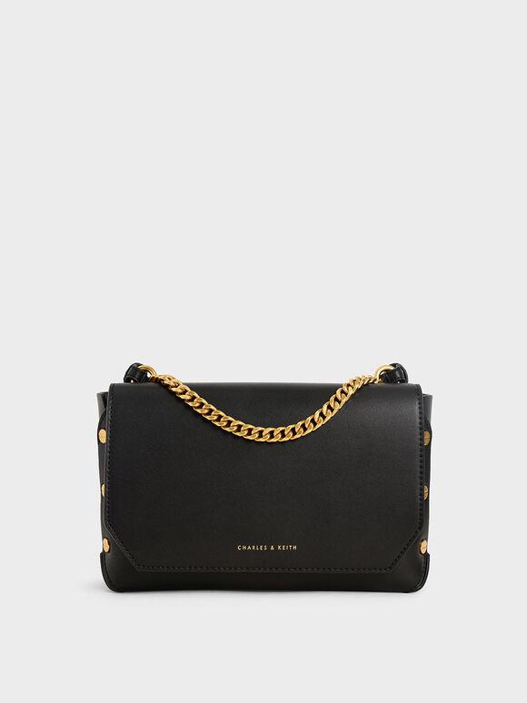 Studded Chain Link Shoulder Bag, Black, hi-res