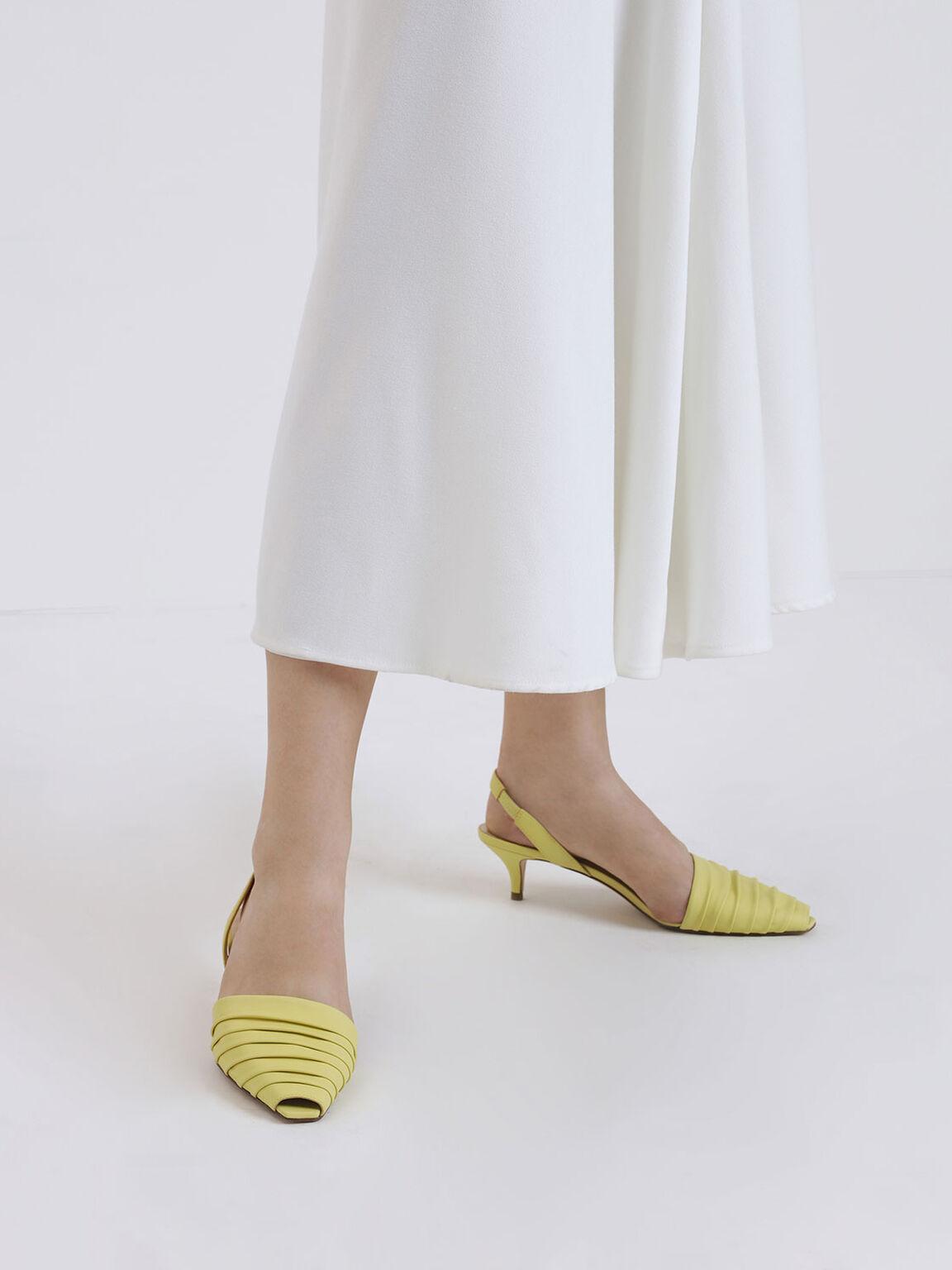Ruched Peep Toe Slingback Heels, Yellow, hi-res