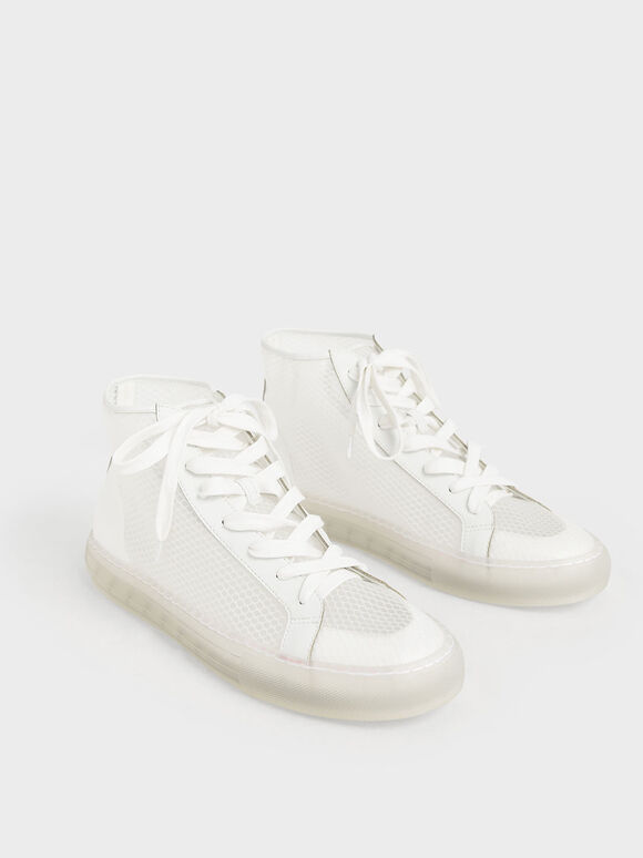 Clear Mesh High Top Sneakers, White, hi-res