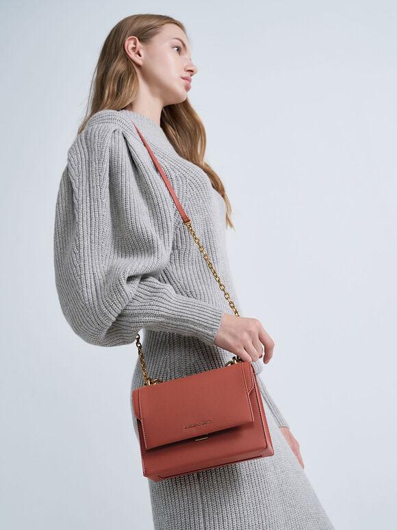 Front Flap Chain Handle Crossbody Bag, Brick, hi-res