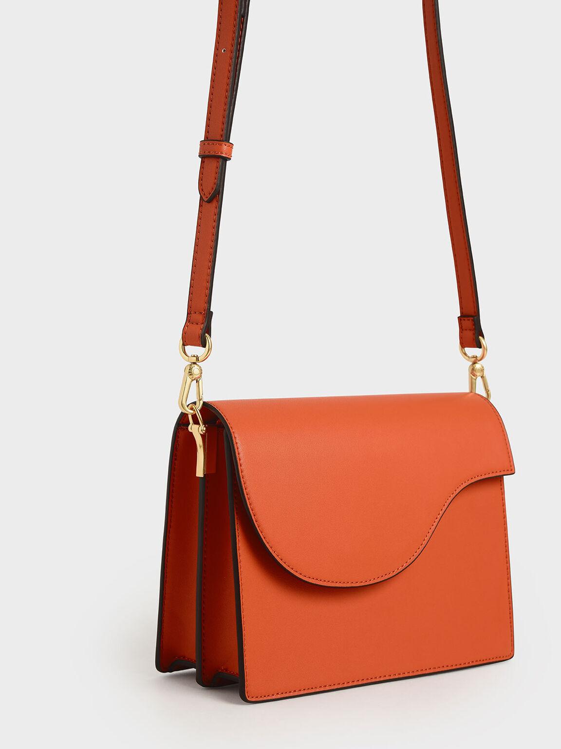 Angular Flap Shoulder Bag, Orange, hi-res