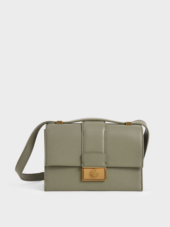 Metallic Push-Lock Crossbody Bag, Sage Green, hi-res