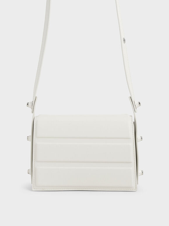 Eyelet-Embellished Top Handle Bag, White, hi-res