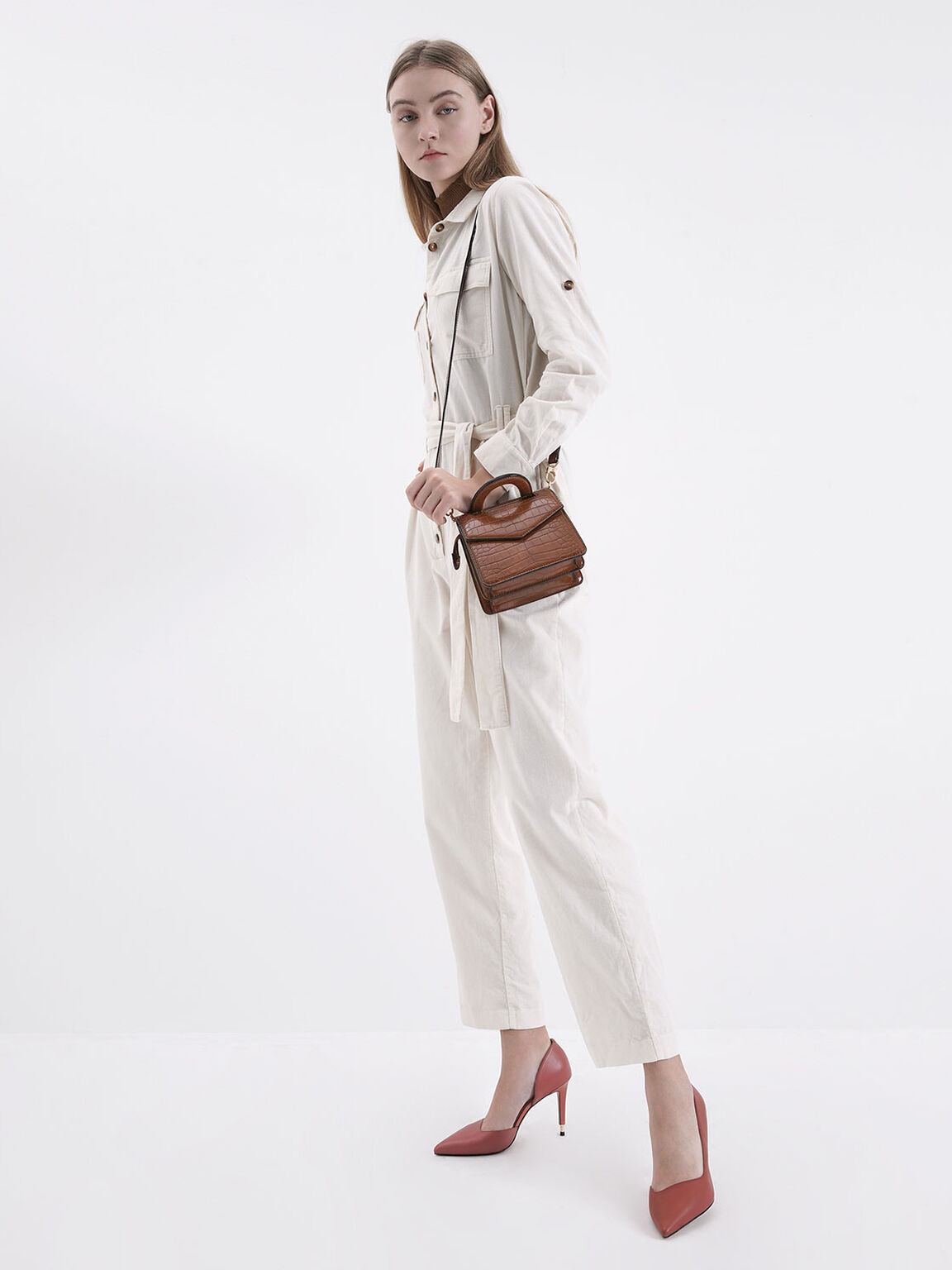 Mini Croc-Effect Envelope Bag, Dark Brown, hi-res